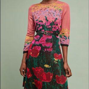 Anthropologie Lisse Sweater Dress 3/4 Sleeve